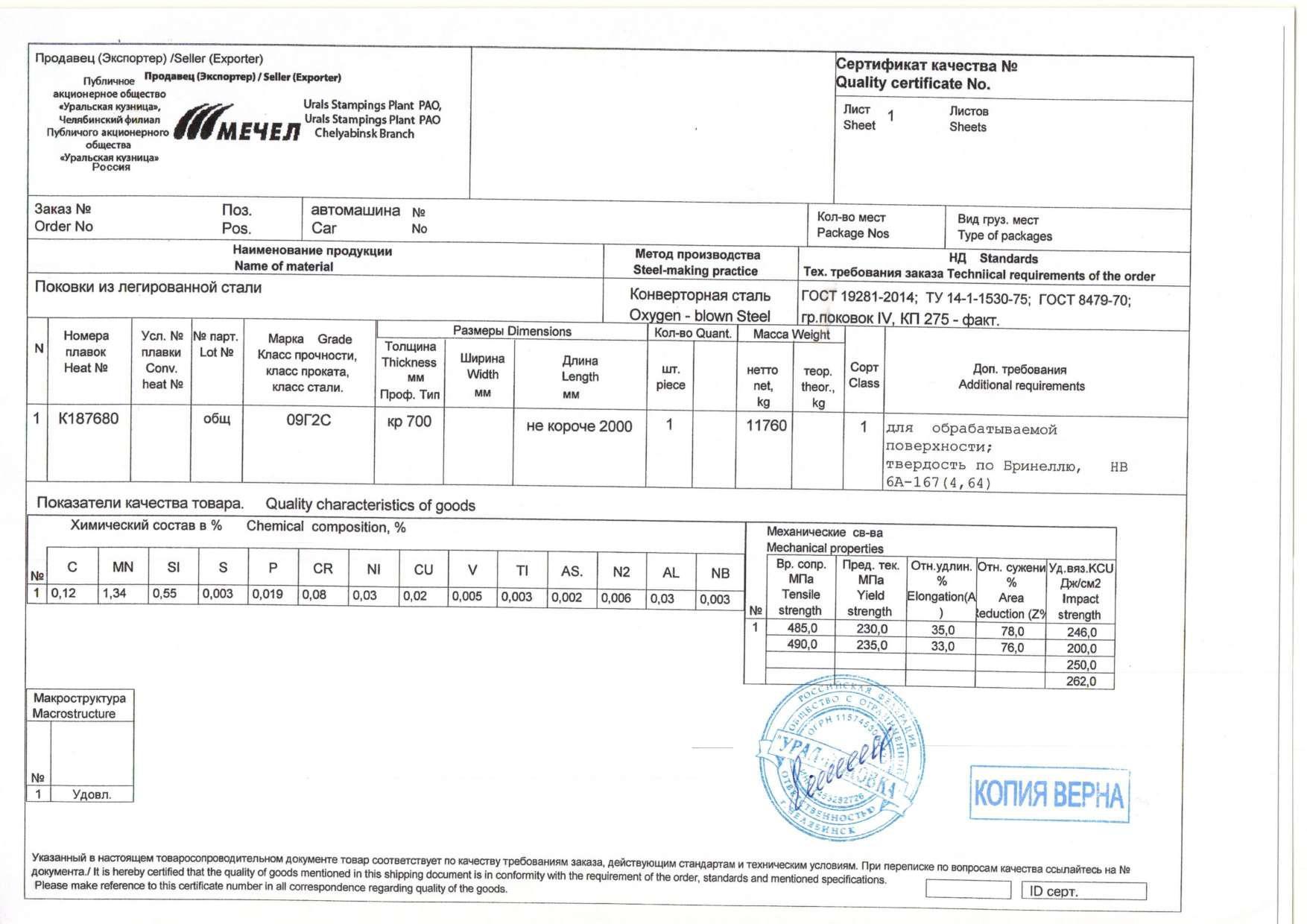 Образец Сертификат на поковку 09г2с
