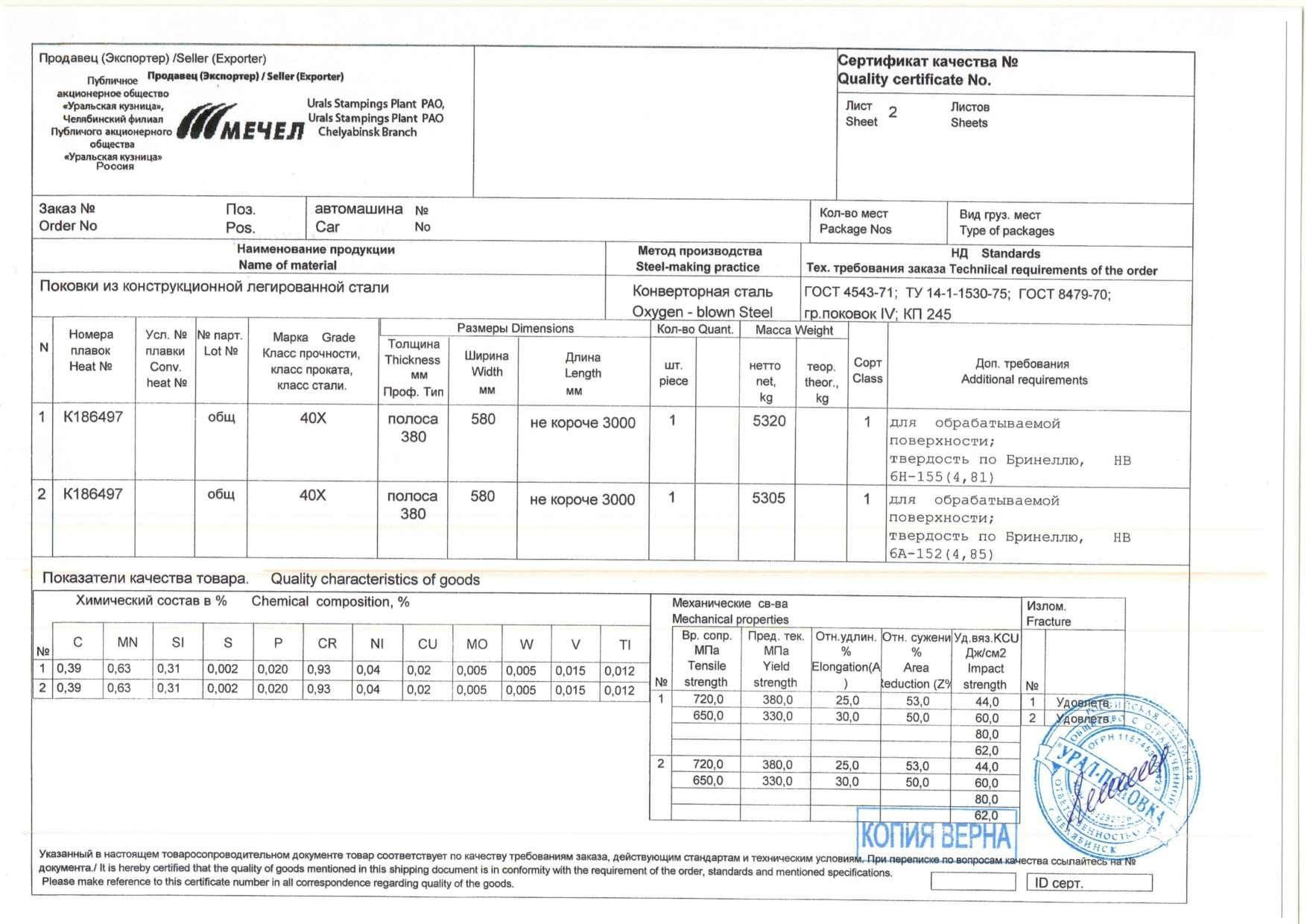 Сертификат поковка 40х